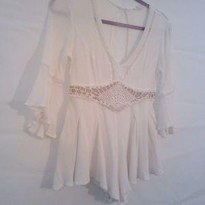 A'gaci White and Beige Crochet Romper